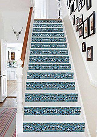 "3D Tile Texture Crystal 68 Stair Risers Decoration Photo Mural Vinyl Decal Wallpaper Murals Wallpaper Mural US (13x H:18cm x W:94cm (7""x37"") - - Amazon.com"