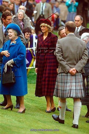 Charles, the Queen Mother, Diana, and Edward(back to the camera) at the Highland Games in Scotland