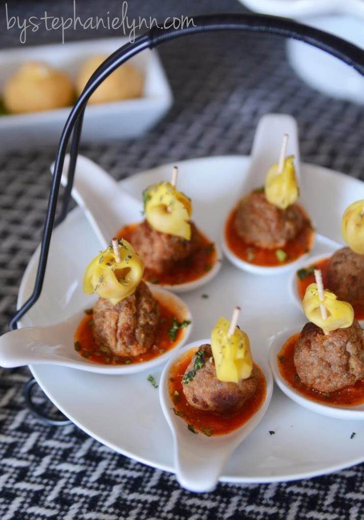 Game day party table more mini appetizers and tortellini for Meatball canape