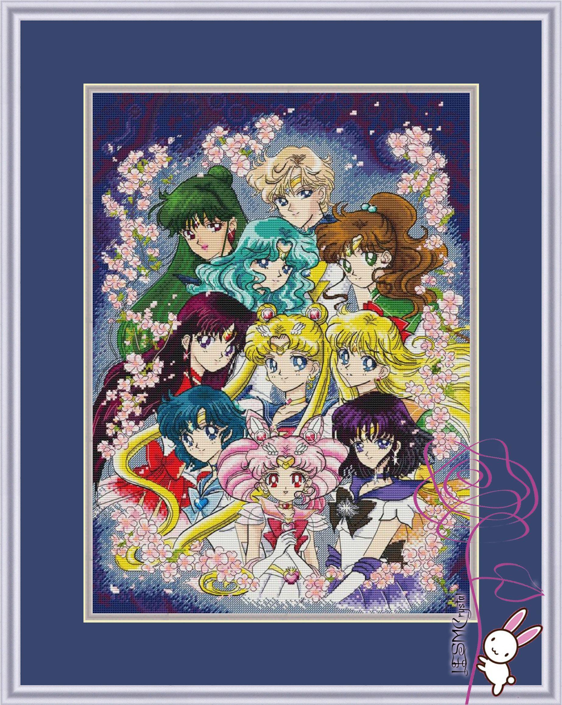 Anime Cross Stitch Pattern PDF Instant Download Girl Cross