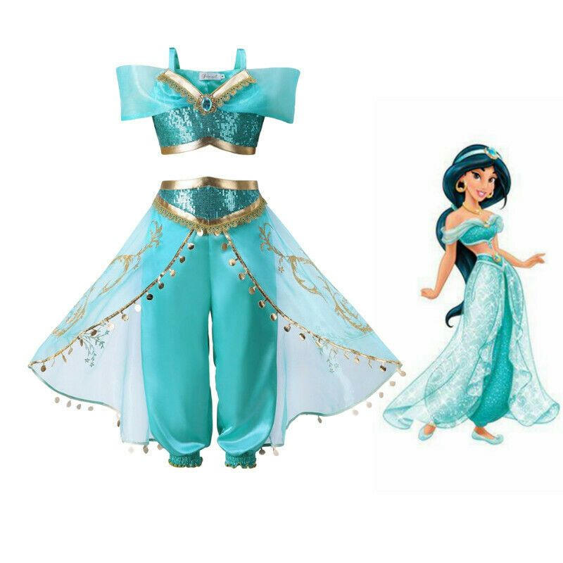 Kids Aladdin Costume Princess Jasmine Cosplay Outfit Girls Suit Pant Fancy Dress Princess Outfits Princess Fancy Dress Holiday Dress Outfit