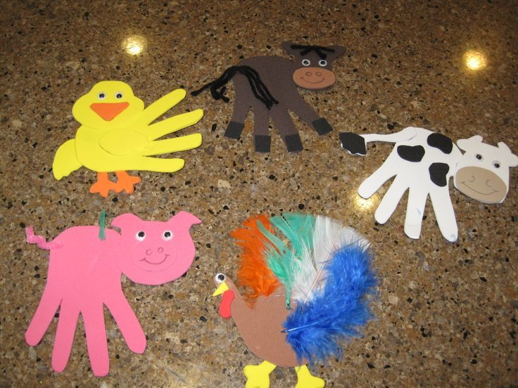 Handprint farm animal craft crafts and worksheets for for Animals art and craft for preschoolers