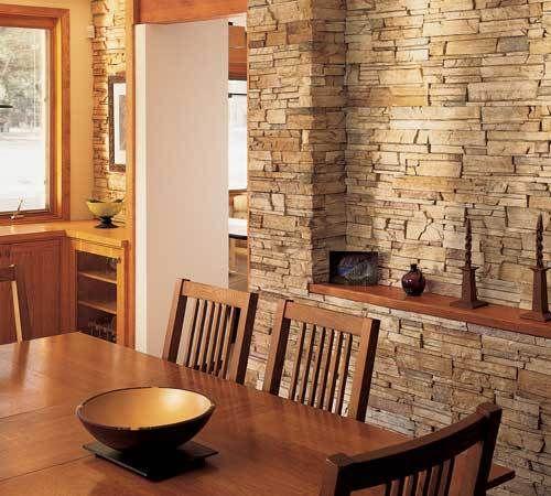 Comedor con revestimiento de piedra salas con doble altura pinterest revestimiento de - Revestimiento de piedra para interiores ...