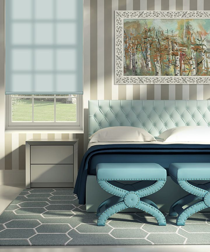 Comfortex roller shade in Sea Mist a perfect pastel color to remind