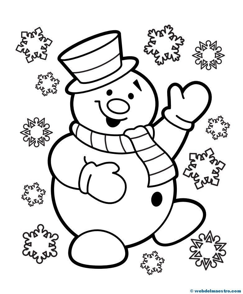 MUÑECO DE NIEVE | Coloring page | Christmas coloring pages ...