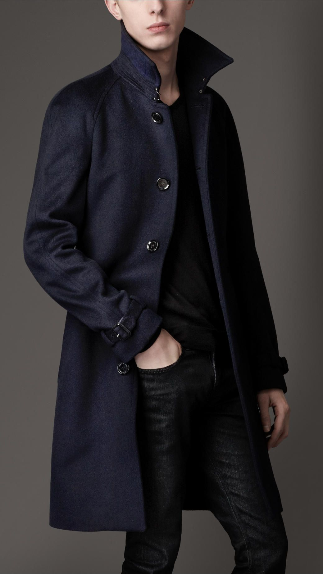 Burberry Midlength Wool Cashmere Trench Coat In Blue For