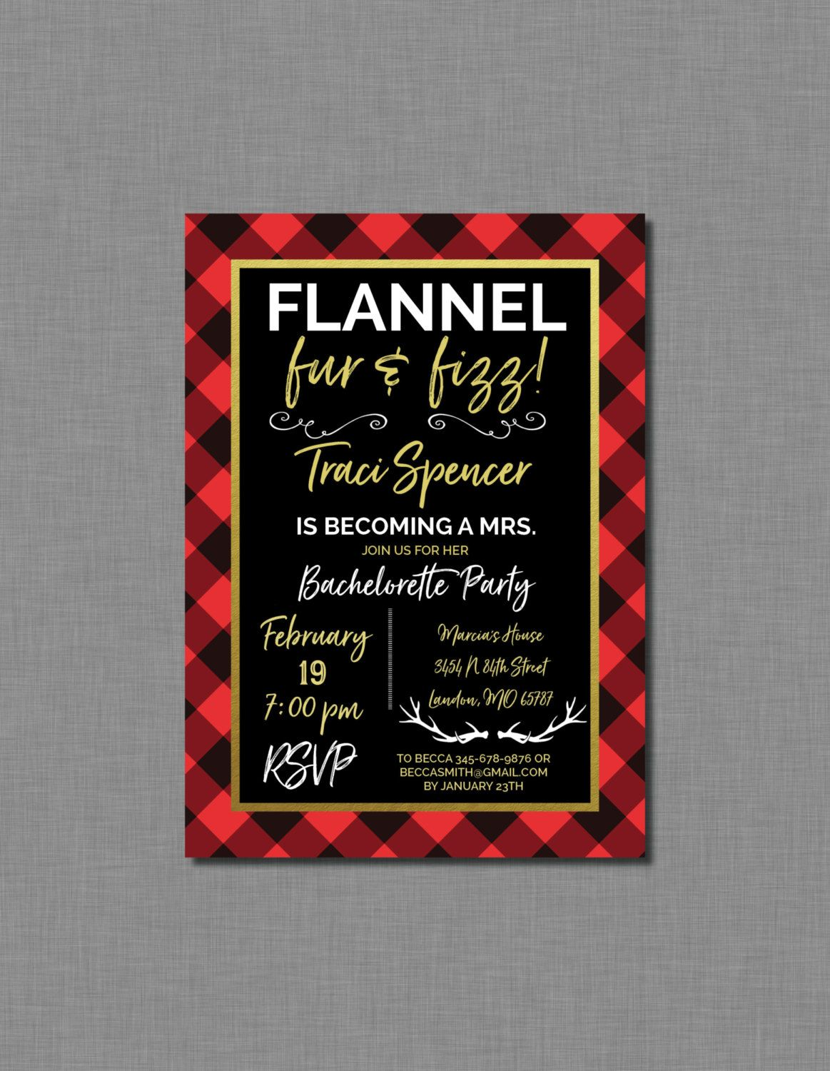 Flannel Bachelorette Party Invitations printed, Plaid Bachelorette ...