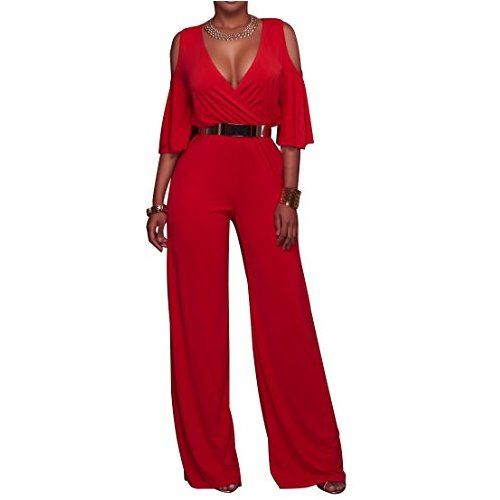 a91ab18235df CutieLove Women s Sexy Wrap Deep V Neck Cold Shoulder Ruffle Sleeve Wide  Leg Jumpsuit With Belt