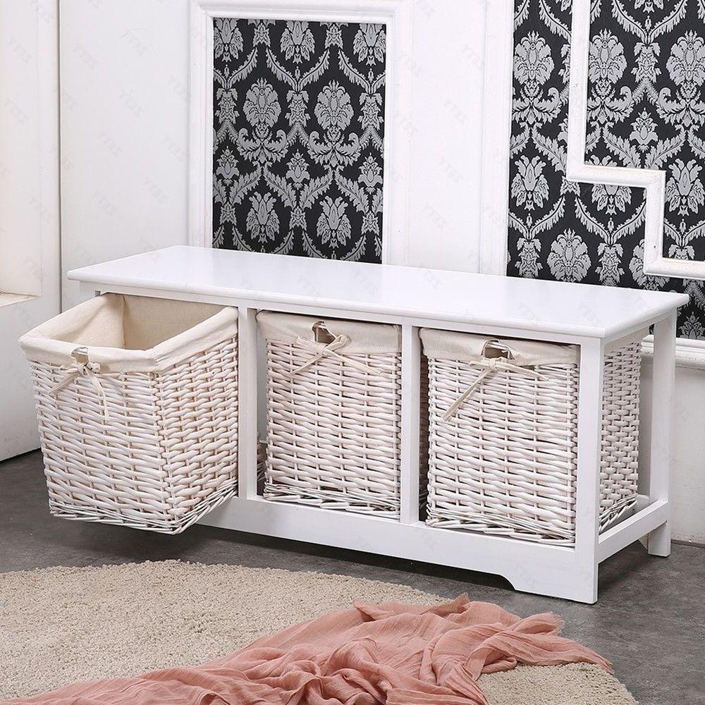 Large Shabby Chic Bench Wood Storage Unit Large Wicker Baskets Hallway  Bathroom