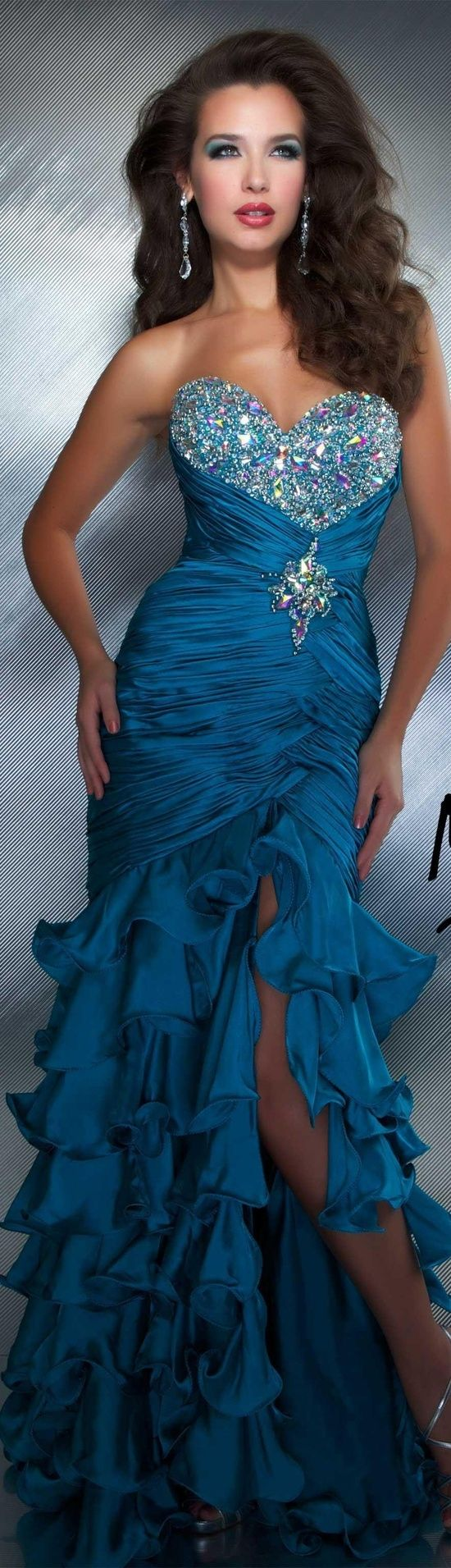 Mac Duggal couture dress teal #strapless #glitter #long #formal  #dress MAC DUGGAL PROM STYLE 4946M by Janny Dangerous