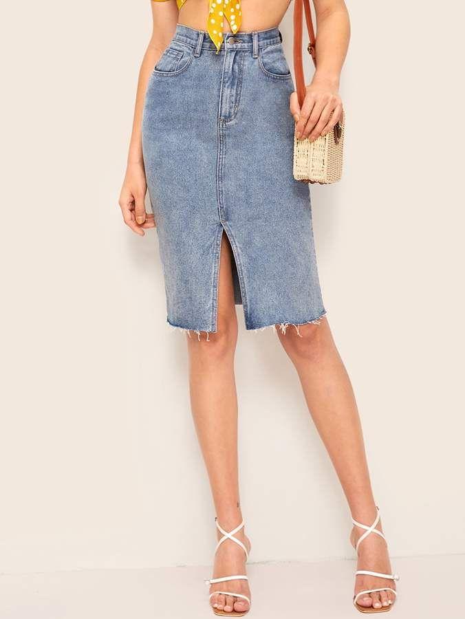 6215b46b98 Shein Bleach Wash Slit Hem Bodycon Denim Skirt in 2019 | Products ...