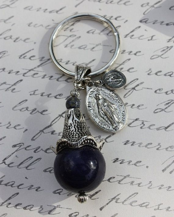 Keychain Key Fob Key Ring Bauble with St. by BlueMantleCreations, $27.00