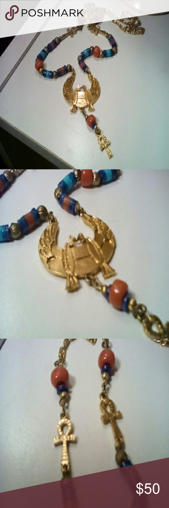 "Vintage ""ART"" Egyptian style necklace New condition, beautiful necklace.  20 inch necklace, pendant is 3 inches.  Thanks for stopping by! Jewelry Necklaces"