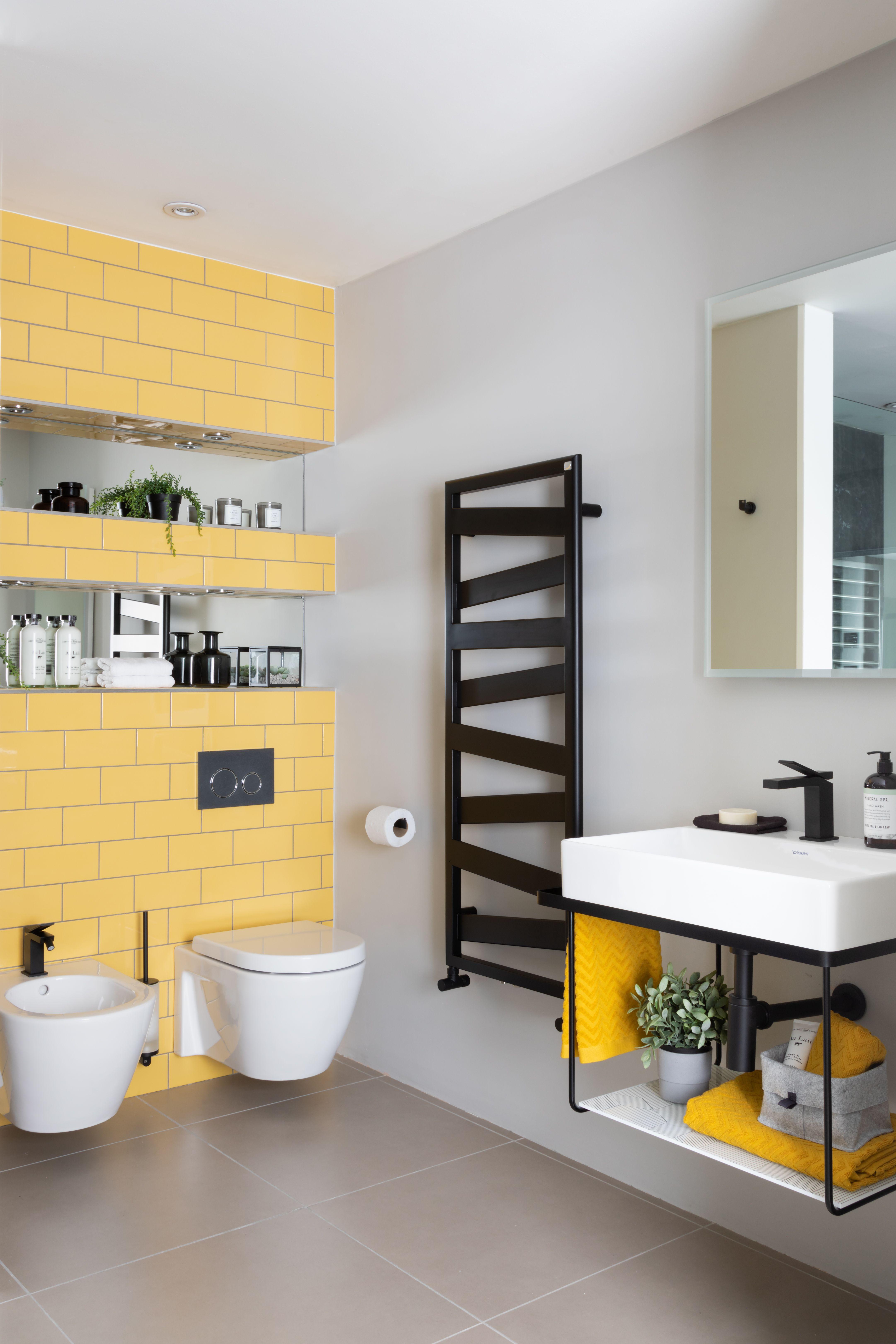 Yellow Bathroom Monochrome Tiles Luxury Smallbathroom Towelrail Design Plans Ideas Yellow Bathrooms Yellow Bathroom Tiles Bathroom Design Bathroom redecorating ideas png