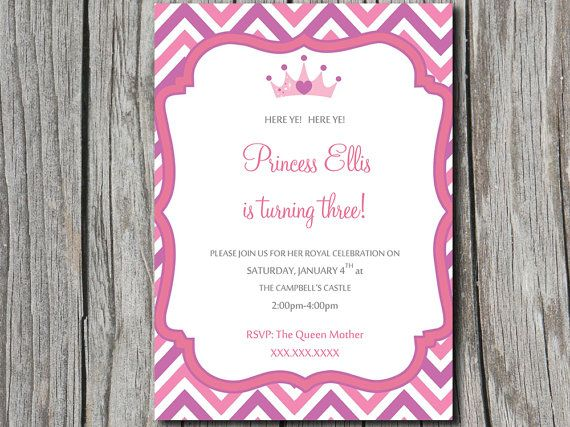 Princess Birthday Invitation Template - Chevron Invitation - birthday invitation template word