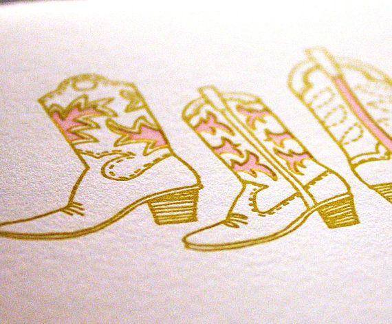 Western Boots Cards Letterpress notecards blank