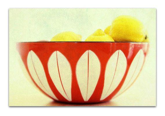Still Life Photography Mid Century Modern Cathrineholm Bowl Lotus Kitchen Vintage Style Of Lemons Print
