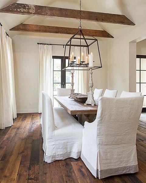 Wood Plank Floors Stained Modern Farmhouse Farmhouse Dining Room