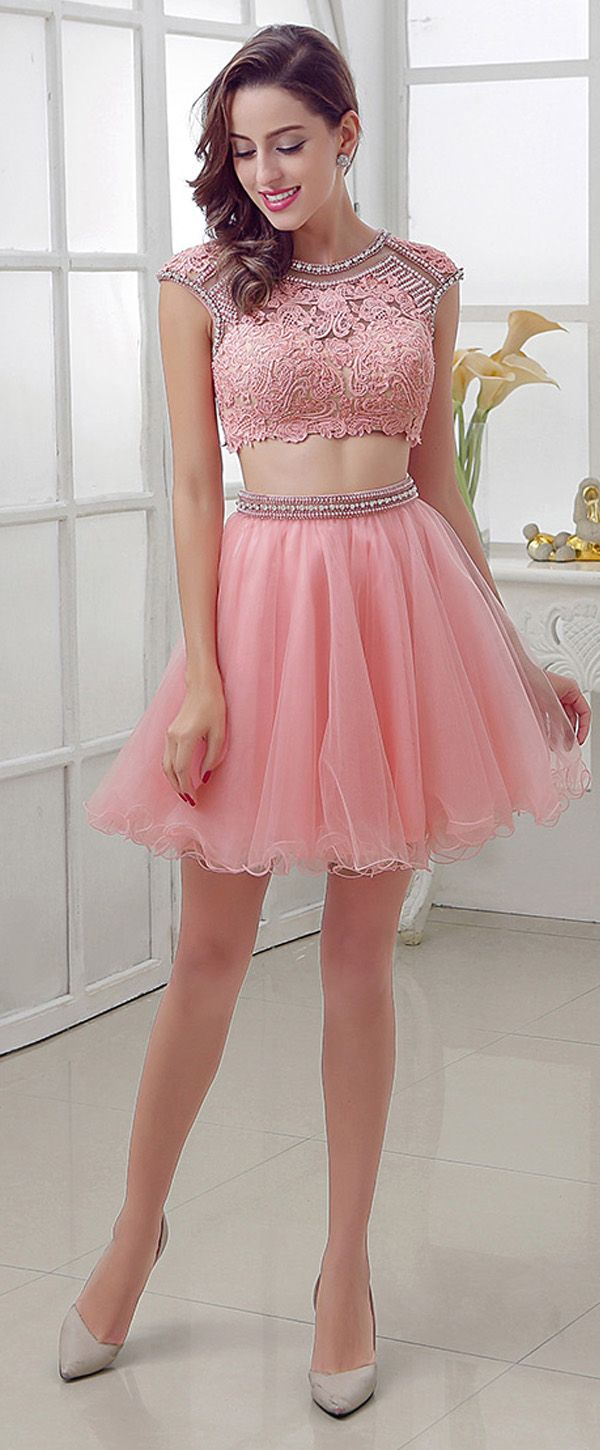 Chic Tulle Jewel Neckline A-Line Two-piece Homecoming Dresses With ...
