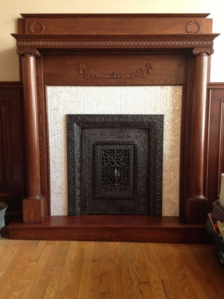 Large white herringbone pearl shell tile fireplace accent also home