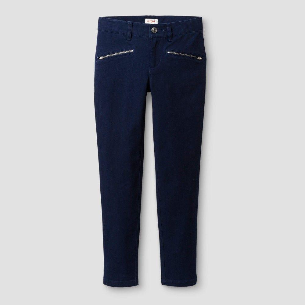 93b4d492dd4 Girls  Skinny Twill Fashion Pants - Cat   Jack Navy 14S