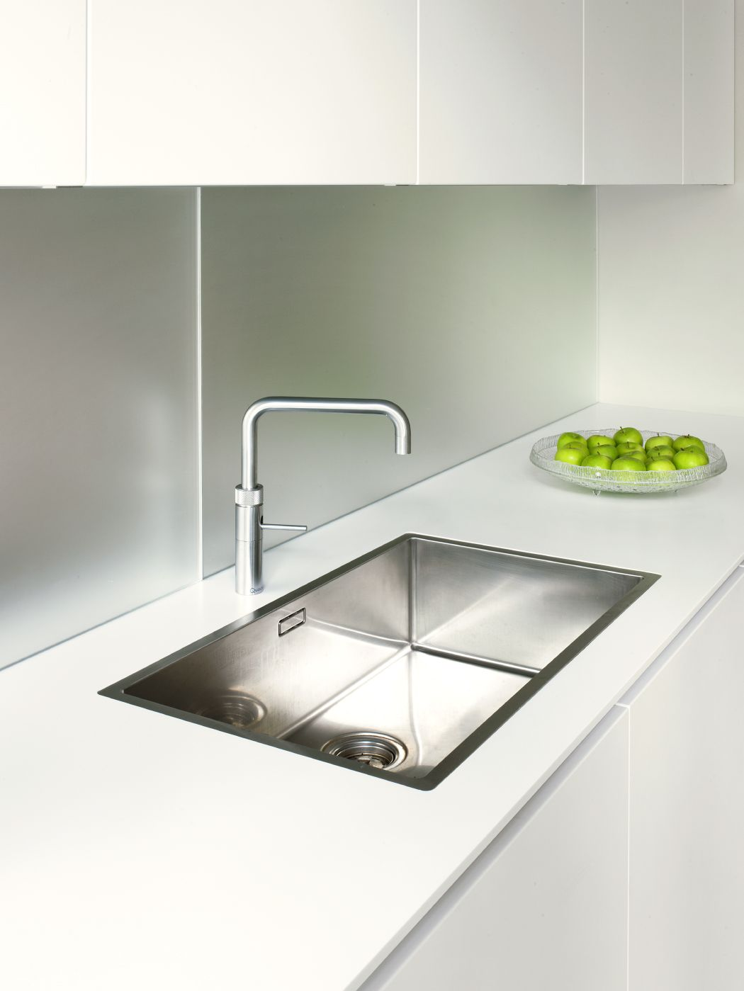 Systemat Range   Polar White Lacquer Matt Cabinetry   Designer White Corian    Stainless Steel   Blanco Sink   Quooker Tap   Textured Mirror