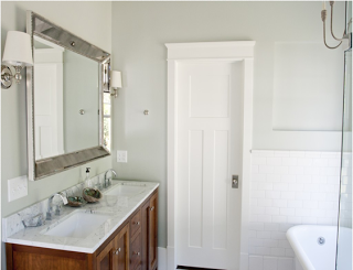 Benjamin Moore Silver Sage Paint. Bathrooms.