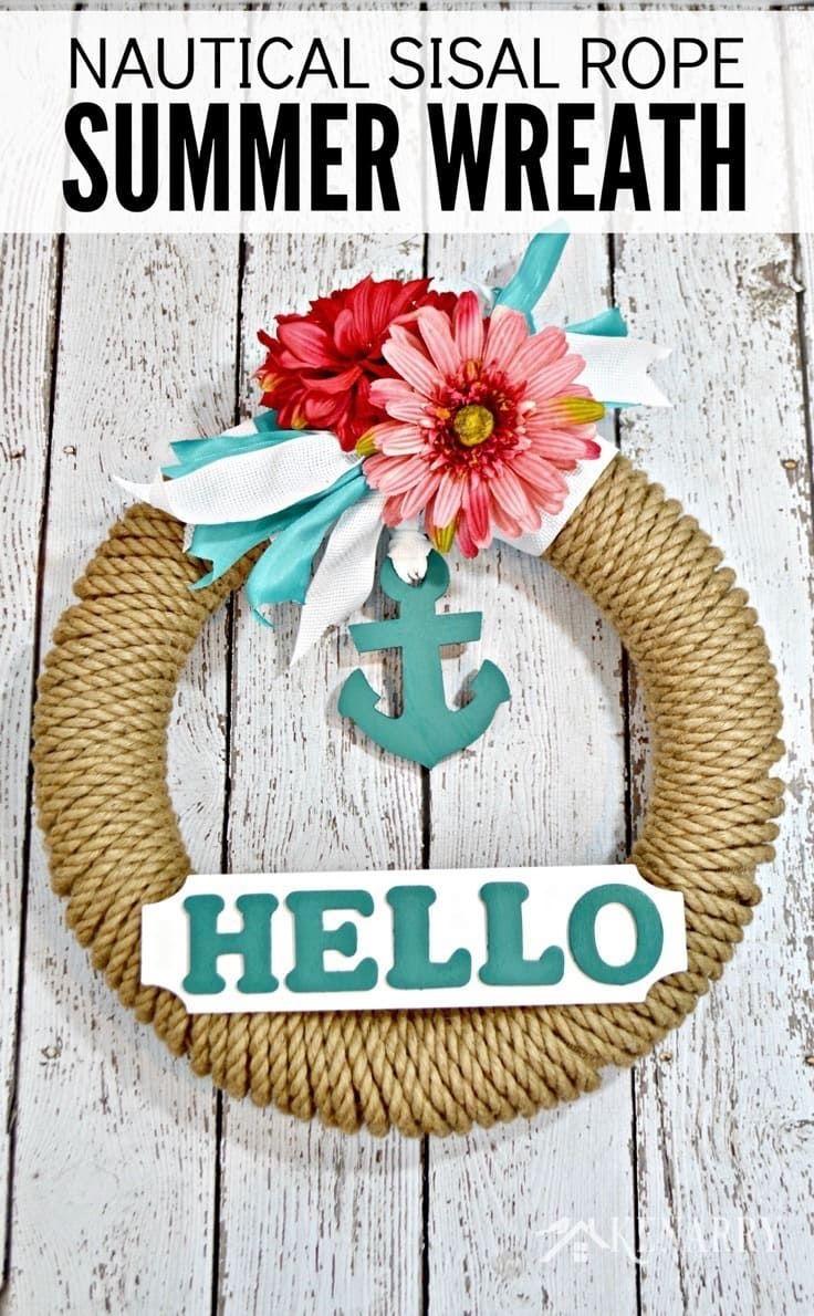 Nautical Wreath Easy Summer Decor With Sisal Rope Nautical