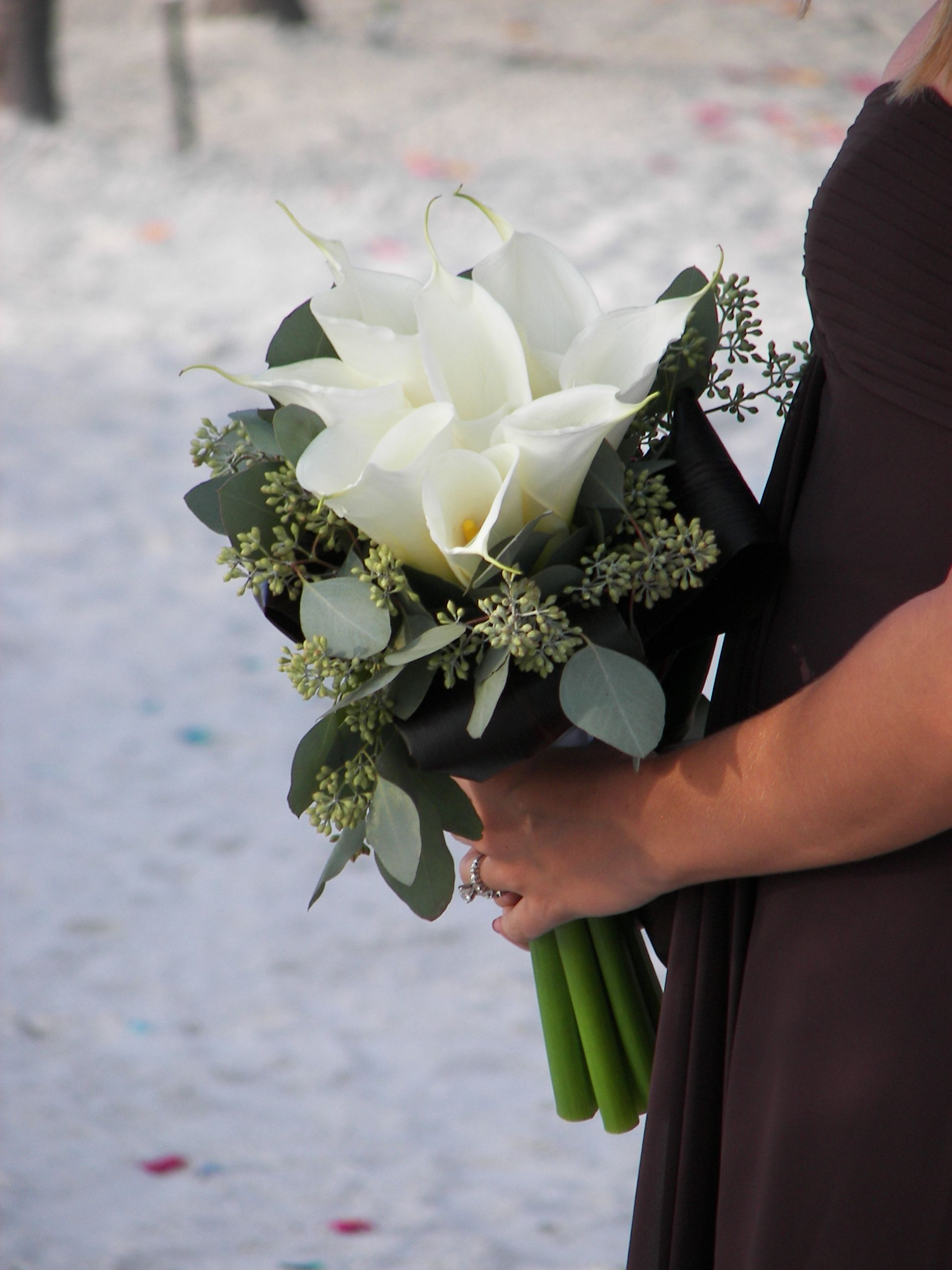 Calla Lily And Seeded Eucalyptus Seeded Eucalyptus Bouquet