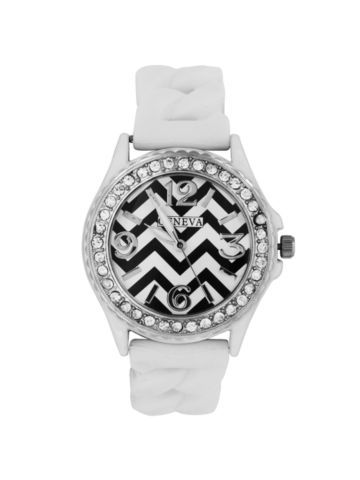 White Chevron Braided Jelly Watch with Crystal Surround