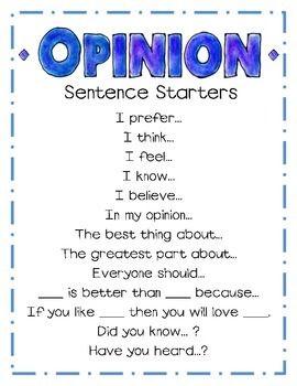 Opinion Sentence Starters Persuasive Writing Teaching Opinion Writing Teaching Writing