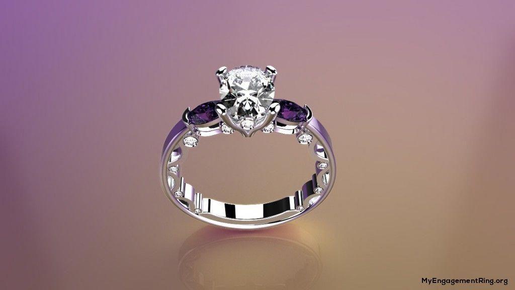 Pretty Purple Diamond Engagement Ring Engagement Wedding Rings