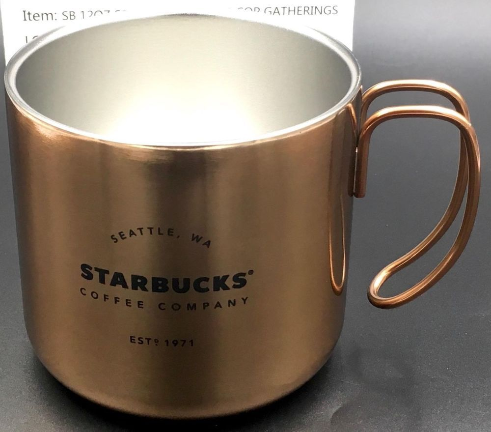 8fc279dea9f STARBUCKS Stainless Steel COPPER bronze Finish 2016 Camping Mug NWT ...