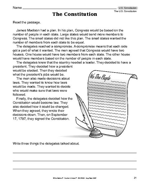 Constitution Day Worksheet U S Constitution The Mailbox Constitution For Kids Simplifying Rational Expressions Rational Expressions Constitution worksheets 5th grade