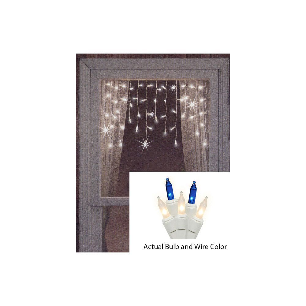 Set of 50 Blue and Frosted Clear Mini Window Curtain Icicle ...