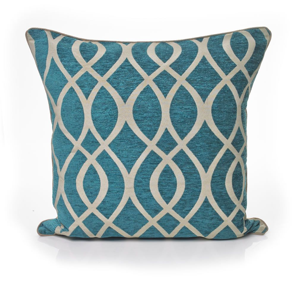 Wilko Cushion Trellis Teal 43X43cm
