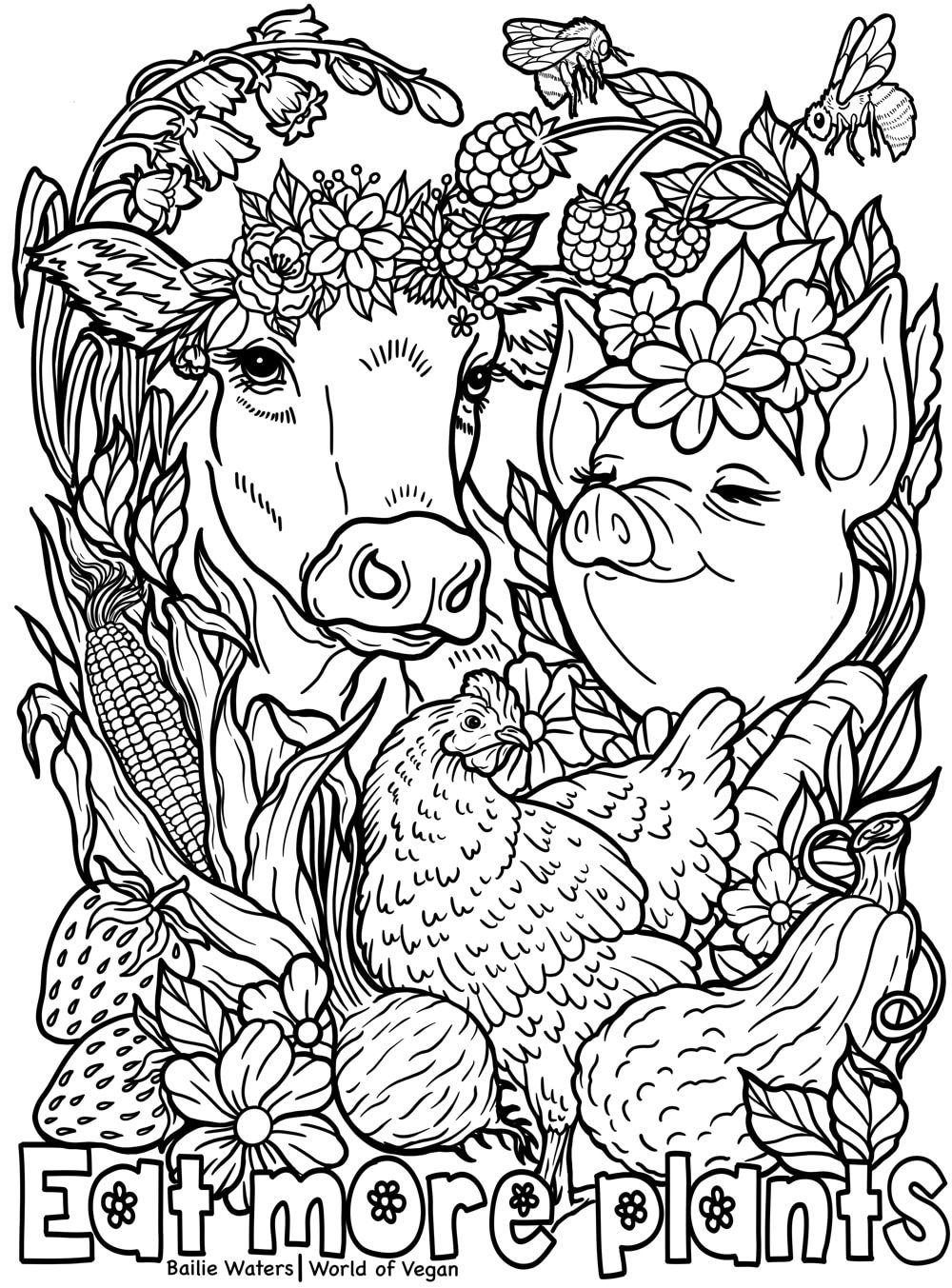 Printable Vegan Coloring Page A Mindfulness Activity For Kids Coloring Pages Free Printable Coloring Pages Kids Coloring Books