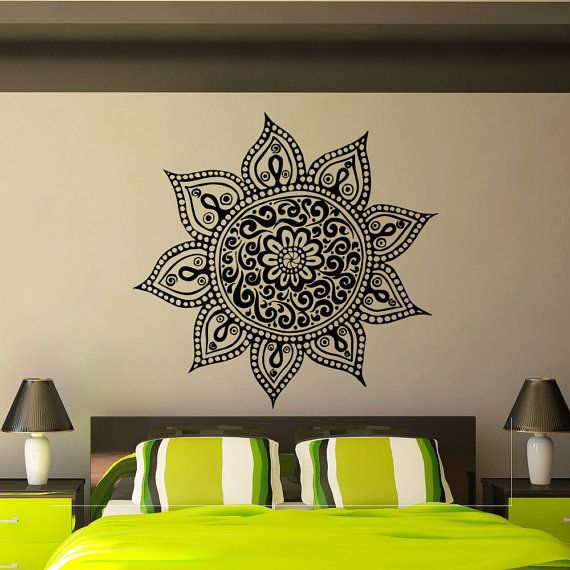 Bohe Mandala Flower Wall Paper Decor Yoga Studio Vinyl: Mandala Wall Decal Vinyl Sticker Yoga Lotus Flower Indian