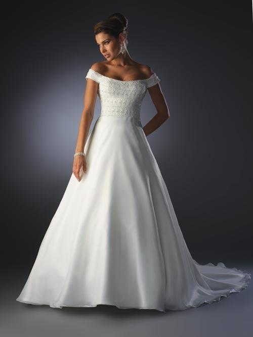 Seductive Off The Shoulder Applique Chiffon Simple Court Train Wedding Dress