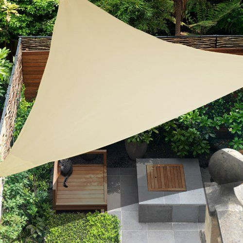OUTT® Outdoor Patio Sun Shade Sail Triangle Heavy Duty Polyester UV Blocking Sun Canopy Beige & OUTT® Outdoor Patio Sun Shade Sail Triangle Heavy Duty Polyester ...