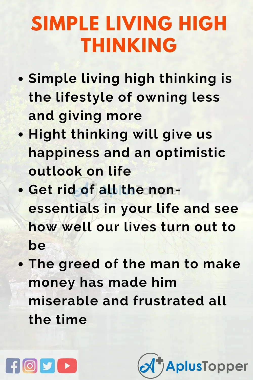 Essay On Simple Living High Thinking Essayonsimplelivinghighthinking Simplelivinghighthinkingessay Aplustopper Help The Poor Writing Competition About People