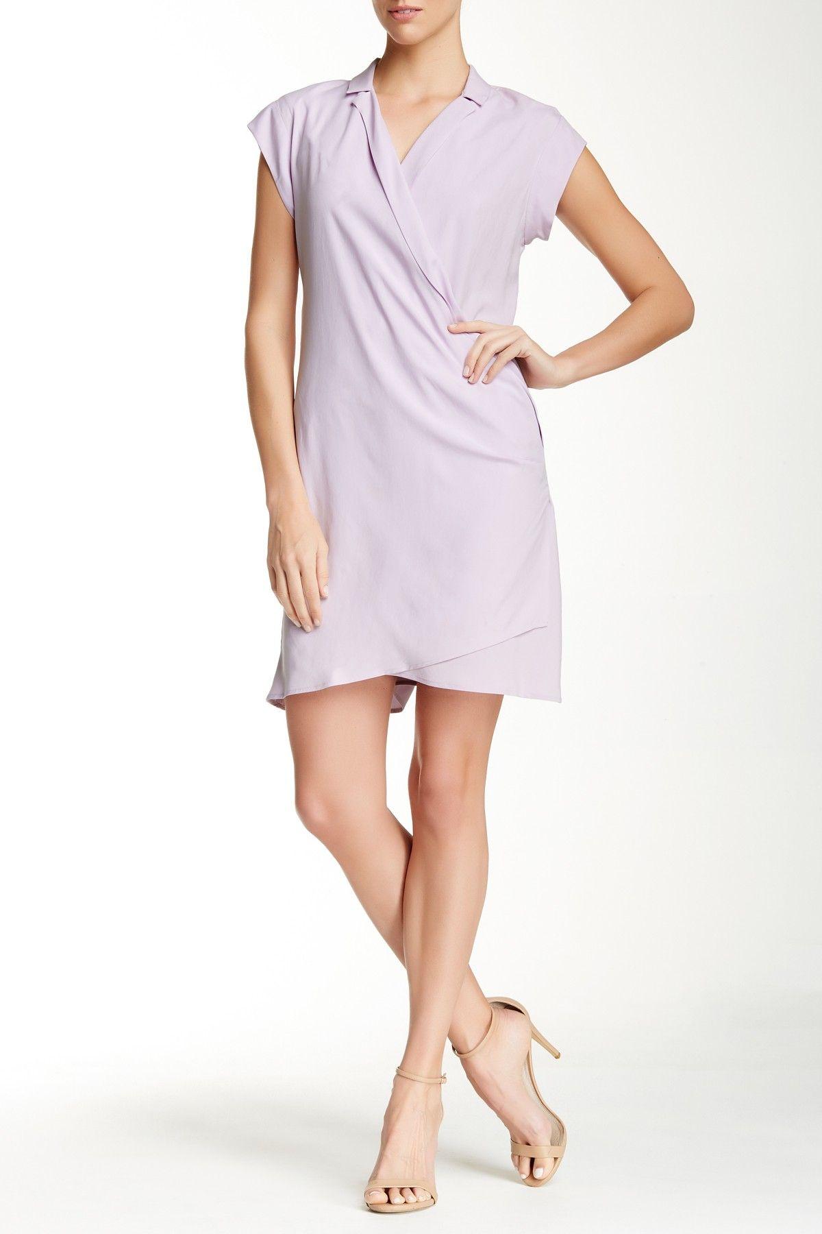 Loose Notch Collar Silk Dress