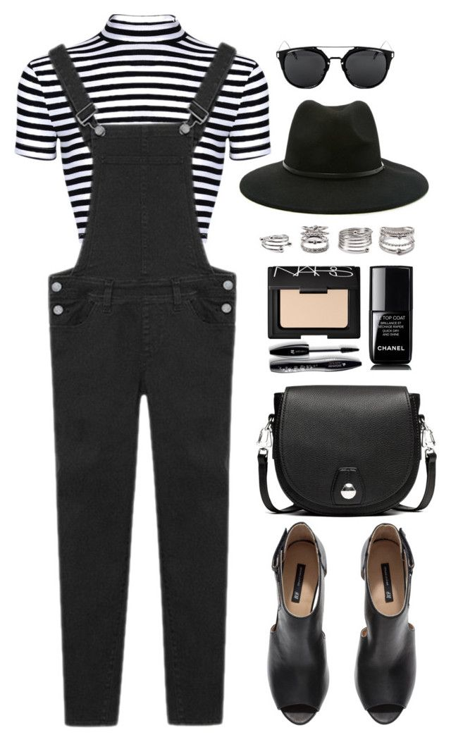 """Overall Style"" by genuine-people ❤ liked on Polyvore featuring H&M, rag & bone, Forever 21, Lancôme, NARS Cosmetics, Chanel, black, stripes and overall"