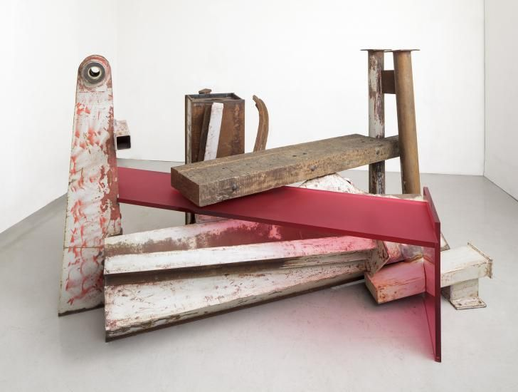 """Anthony Caro - """"Terminus {2013}; steel, jarrah wood and frosted raspberry red perspex, 161 x 282 x 215cm"""