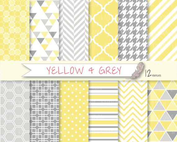 jaune gris digital paper papier de scrapbooking jaune t doux gris motif papiers. Black Bedroom Furniture Sets. Home Design Ideas