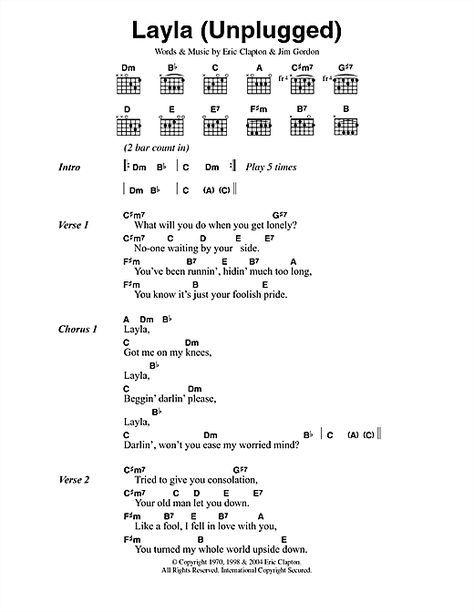 Layla Unplugged By Eric Clapton Guitar Chords Lyrics Digital Sheet Music In 2020 Guitar Songs Guitar Chords Guitar Chords For Songs