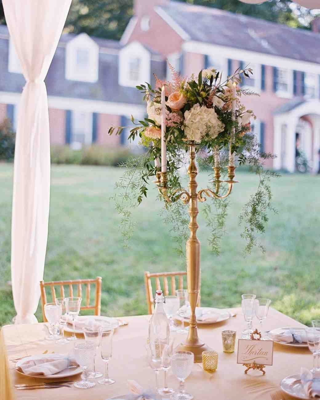 An Elegant Garden Wedding Near Baltimore Wedding Centerpieces For Sale Candle Wedding Centerpieces Candelabra Wedding Centerpieces