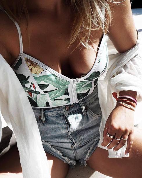 $5 - $20 Cute Summer Spring White Green Floral Flower Print Crop Top White Sheer Beach Shirt Cover Up Blue Denim Mini Shorts Beachwear Tumblr