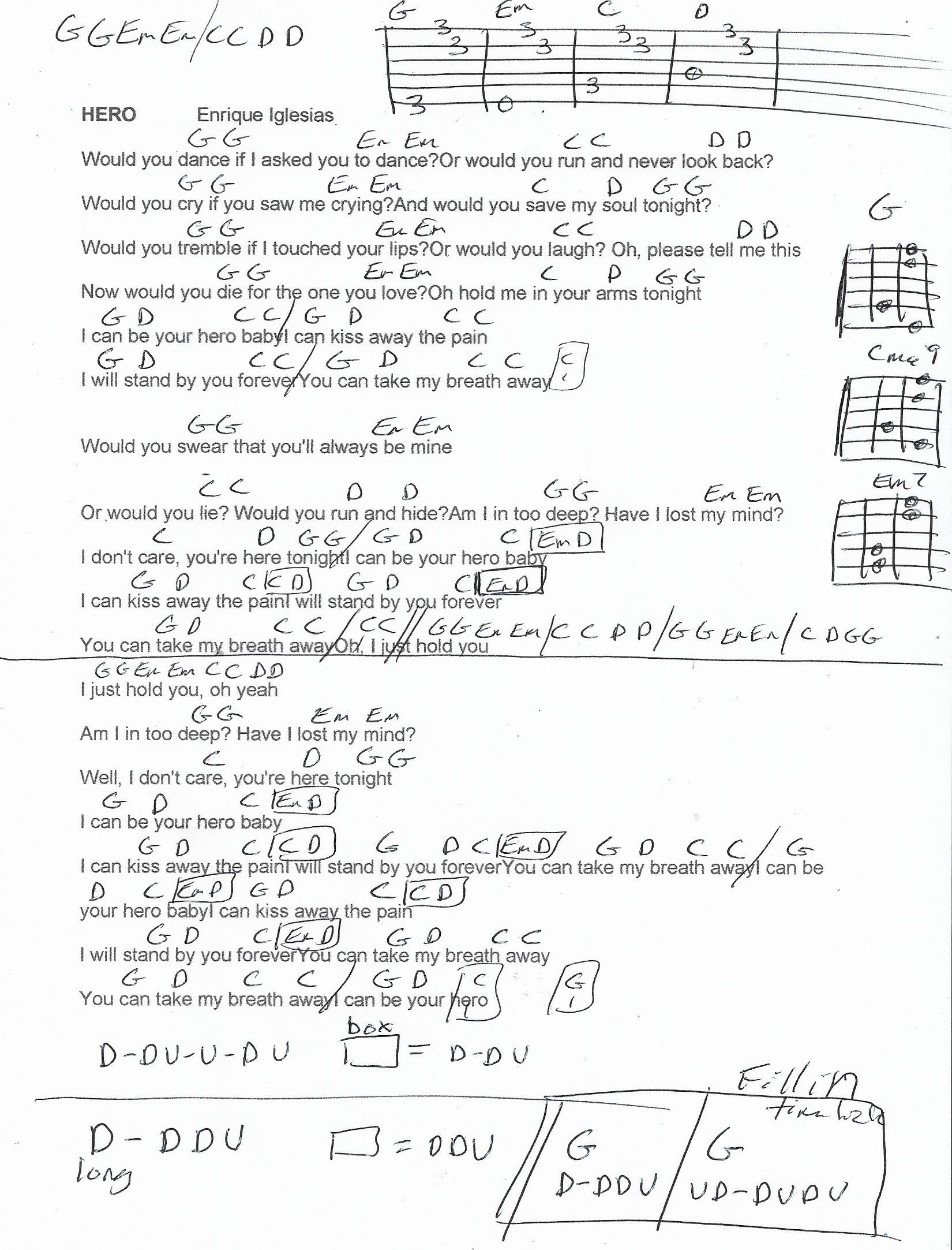 Hero Enrique Iglesias Guitar Chord Chart   Gitarrenlieder ...
