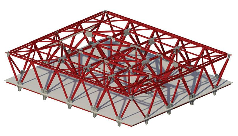 Balanced two way roof hat truss system architecting for Truss roof system